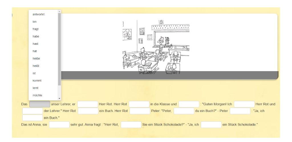 Verben auswählen. Online Übung auf Studiful.com
