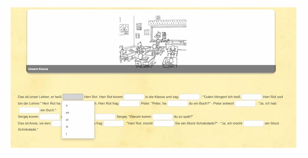 Verben anhand der Endungen auswählen. Online Übung auf Studiful.com